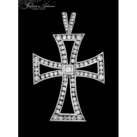 Duży krzyż Maltański z białego złota-18 karat wysadzany brylantami- 3,50 karata !