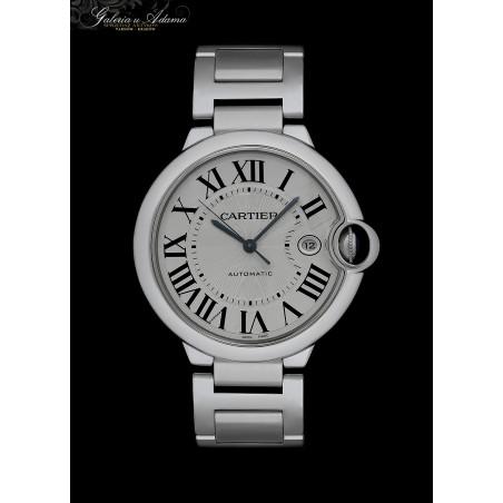 """""""CARTIER """"-Model Ballon Bleu- Ekskluzywny męski zegarek ze stali szlachetnej z bransoletą- Automatyczny, oryginalne etui !"""