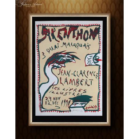 Litografia- Pierre Alechinsky (1927 r ) – Plakat na wystawę pisarza Jean-Clarence Lambert  w Arenthon w Paryżu 1998 roku.
