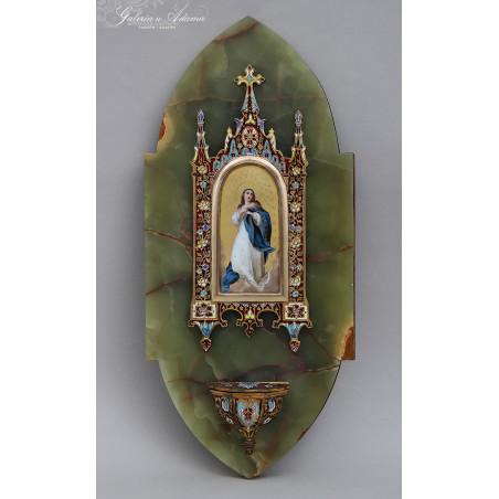 Pocz XX w.-Kropielniczka z zielonego onyxu z wizerunkiem Matki Boskiej w finezyjnej oprawie zdobionej kolorową emalią -Piękna !