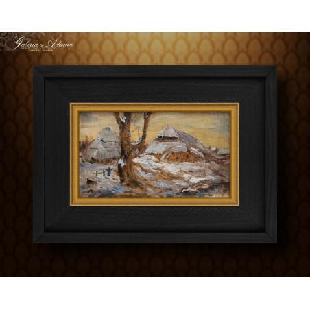 Obraz olejny- Pauline Dohn Rudolph (1865–1934) – Pejzaż zimowy ( 1906 r).