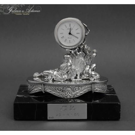 HISZPANIA XX w-Zegarek umieszczony na alegorycznej rzeźbie wykonanej ze srebra-925, na marmurowym postumencie-PIĘKNY !