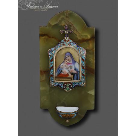 Pocz XX w.-Kropielniczka z zielonego onyxu z olejnym wizerunkiem Matki Boskiej zdobionej kolorową emalią -Piękna !