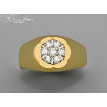 Sygnet/pierścionek złoty-14 karat wysadzany brylantami- 0,33 karata !