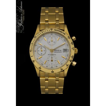 """""""Geneve """"- Zegarek męski ze złota-18 karat- z bransoletka złotą (w.152 g)- Chronograf, Automat-Piękny !"""