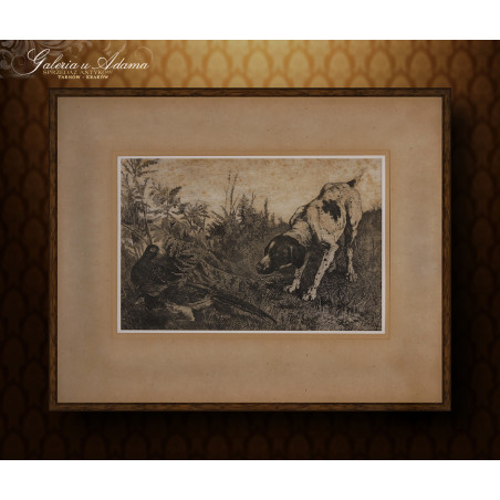 GRAFIKA-AKWAFORTA-Charles VERLAT (1824-1890) – PIES I BAŻANTY.