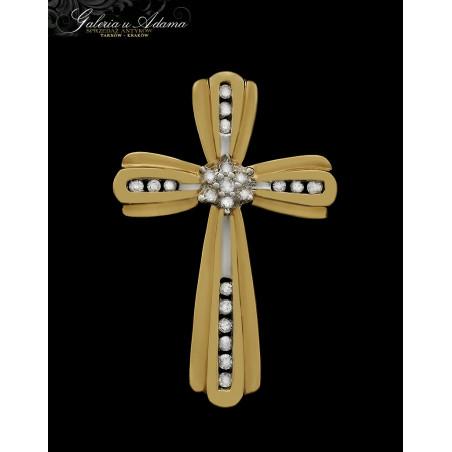 Krzyżyk złoty-10 karat wysadzany diamentami- 0,22 karata !