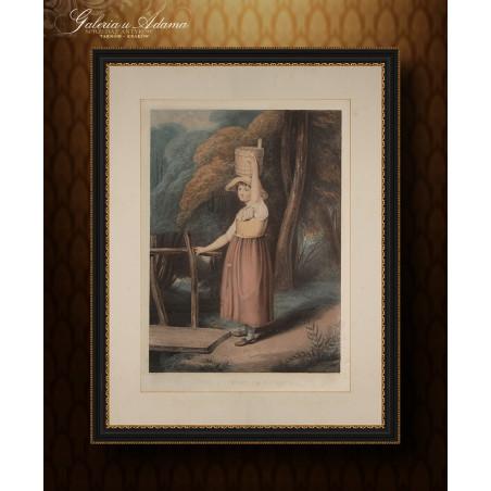 Litografia kolorowana- Thomas Gaugain (1748-1810) wg R.Westall-Dziewczyna z dzbanem na głowie.