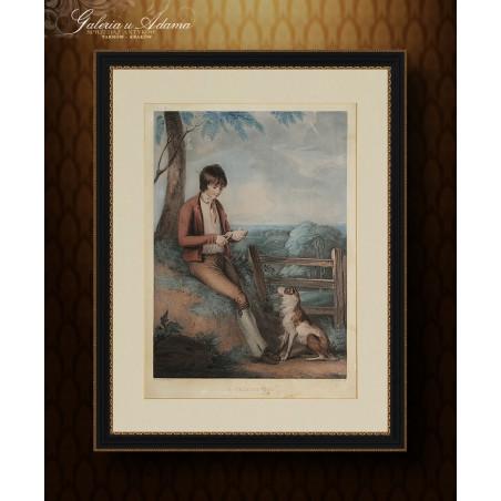 Litografia kolorowana- Thomas Gaugain (1748-1810) wg R.Westall-Wiejski chłopiec z psem .