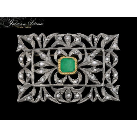 Broszka srebrna-pozłacana wysadzana diamentami- 1,00 karat i Szmaragdem naturalnym-1,30 karata !