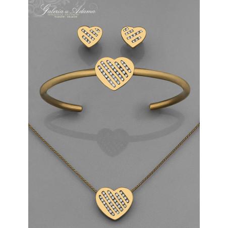 """Komplet biżuterii  """"Serca"""" (Bransoletka, wisiorek i kolczyki) ze złota-14 karat i 9 karat wysadzany brylantami- 1,50 karata !"""