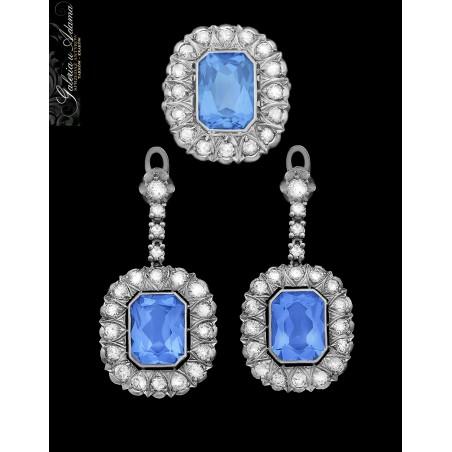 Komplet biżuterii (kolczyki i pierścionek) z białego złota-18 karat wysadzany brylantami- 5,50 karata i Spinelami niebieskimi !